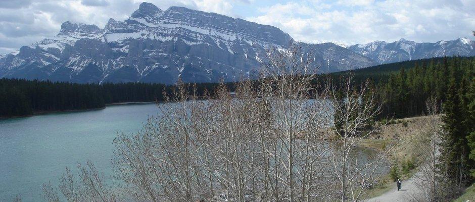 Lake Minnewanka with Mount Inglishmalde Mount Girouard and Mount Peeche